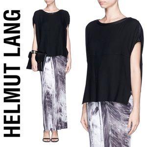 ❤️ Helmut Lang Black Leather Trim Wool Blend Top S